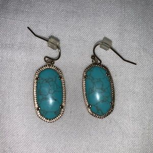 Kendra Scott Inspired Gold and Turquoise Earrings